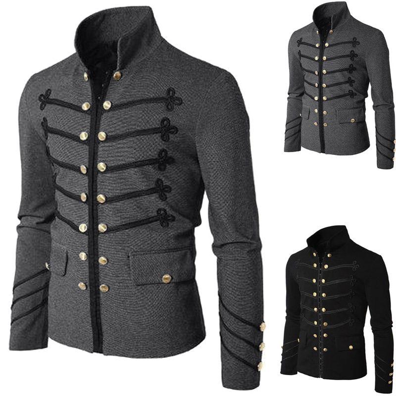 Erkekler Vintage Askeri Ceket Gotik Askeri Parade Ceket Işlemeli Düğmeler Düz Renk Üst Retro Üniforma Hırka Giyim