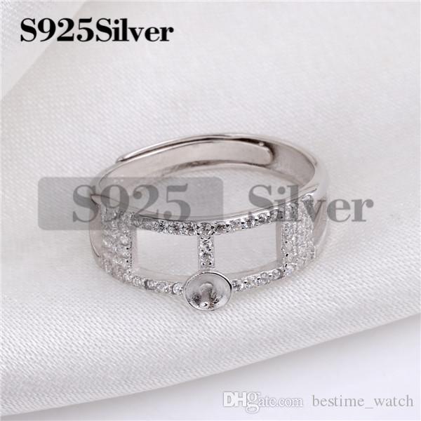 HOPEARL Jewelry Pearl Accessories Ring 925 الفضة الاسترليني مكعب زركونيا النساء النتائج مجوهرات نصف النهائي تصاعد حلقة 3 قطع