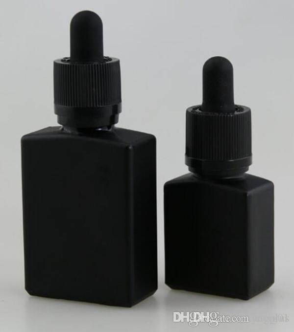 30 ملليلتر ماتي الأسود زجاج زجاجة بالقطارة 1 أوقية متجمد الأسود شقة مربع زجاجة مستطيل عطر الضروري النفط vape ه السائل ejuice زجاجة