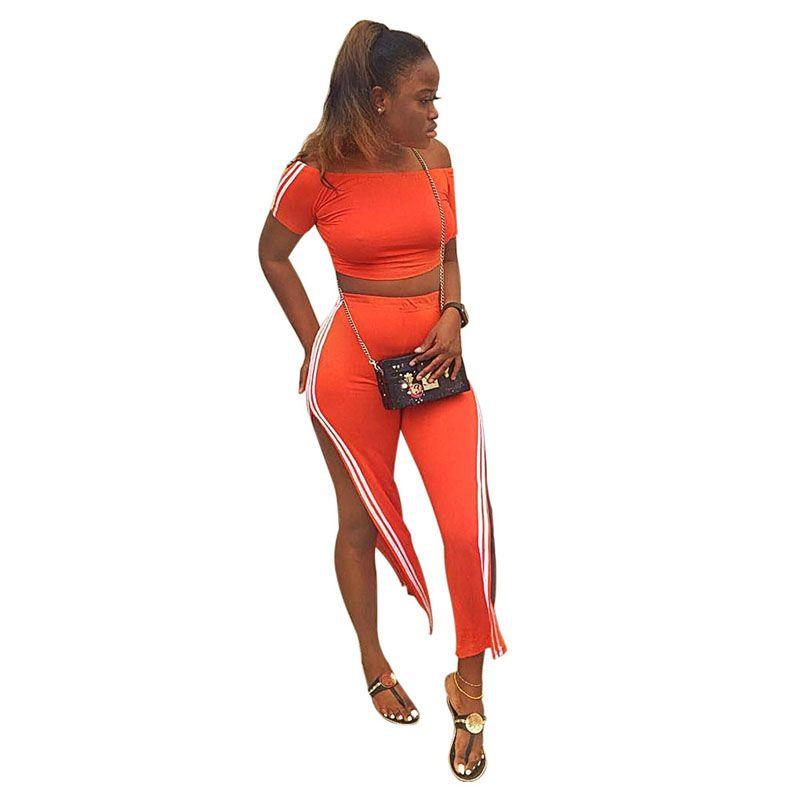 Sexy Two Piece Set Outfit Women Side Stripe Orange Women Tracksuit Off Shoulder Short Sleeve Crop Top Split Wide Leg Pants Suit