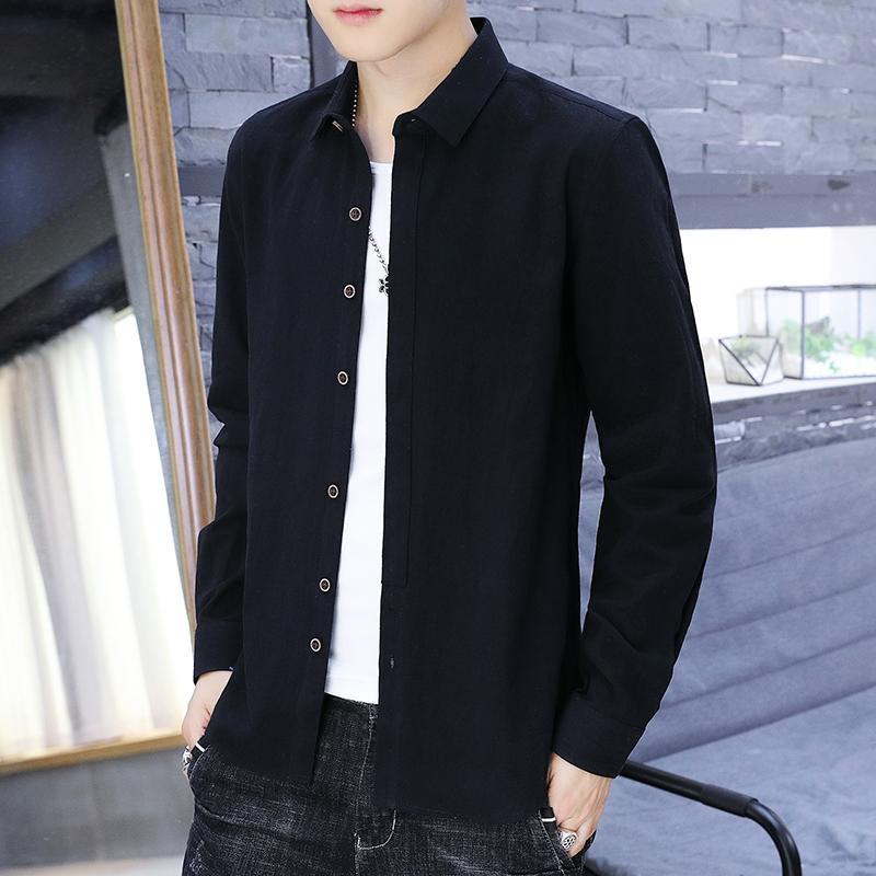 2020 New Fashion manches longues hommes Chemises Slim solide Hommes d'affaires Chemise Printemps Automne hommes Chemise blanche M-4XL