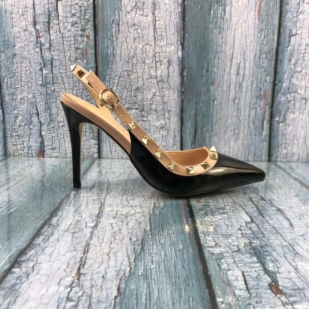 Повседневная дизайнер сексуальная леди мода женщины черный лакированной кожи шипы обернуть ремешками slingback высокие каблуки сандалии обувь Стилет новый