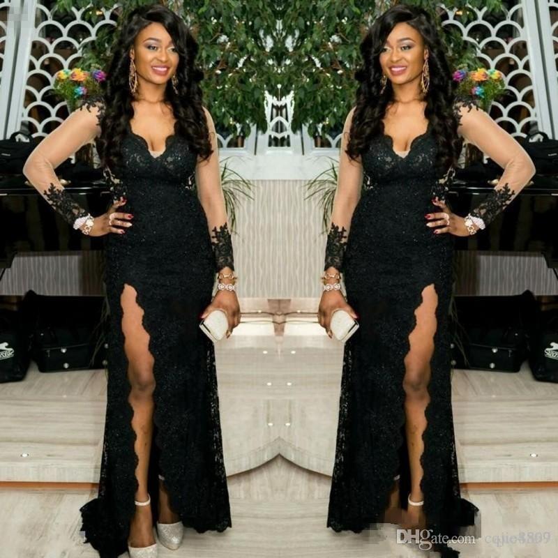 2020 African Black Mädchen plus Größen für besondere Anlässe Abendkleider Partei-Abschlussball trägt lange Illusion Ärmel Side Splits wulstige tiefer V-Ausschnitt 112