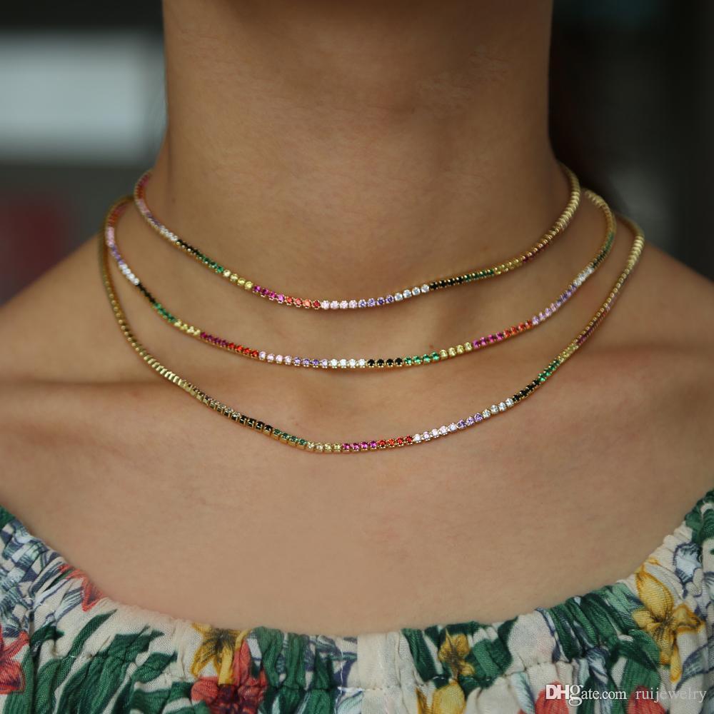 Haute qualité sparking rainbow tennis chaîne chocker collier avec minuscule couleur CZ personnalité de la mode femmes collier bijoux bijoux femme