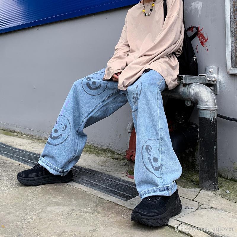 Adam Gevşek Jeans Hiphop Kaykay Smiley yazdır Jeans Baggy Pantolon Kot Pantolon Tembel Rüzgar Erkekler İlan Rap Jeans 4 mevsim