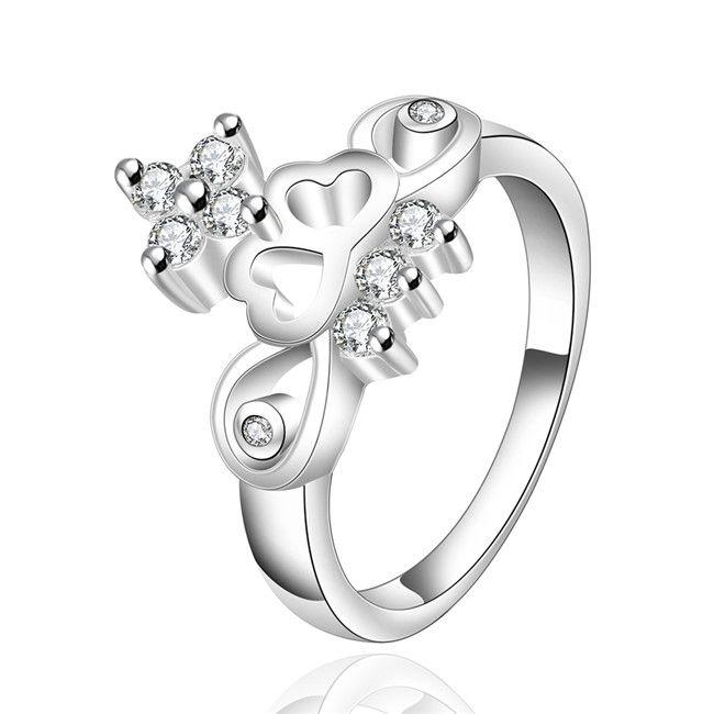 Позолоченный стерлингового серебра в форме сердца Циркон кольцо DJSR492 США размер 8; классический дизайн женщин 925 серебряная пластина с боковыми камнями кольца ювелирные изделия