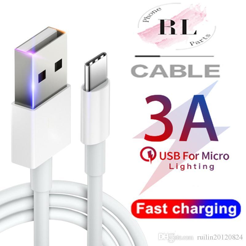 Alta velocidade 3A Cabo USB Carregador Rápido Micro USB Tipo C Cabos 1M 2M 3M carregamento