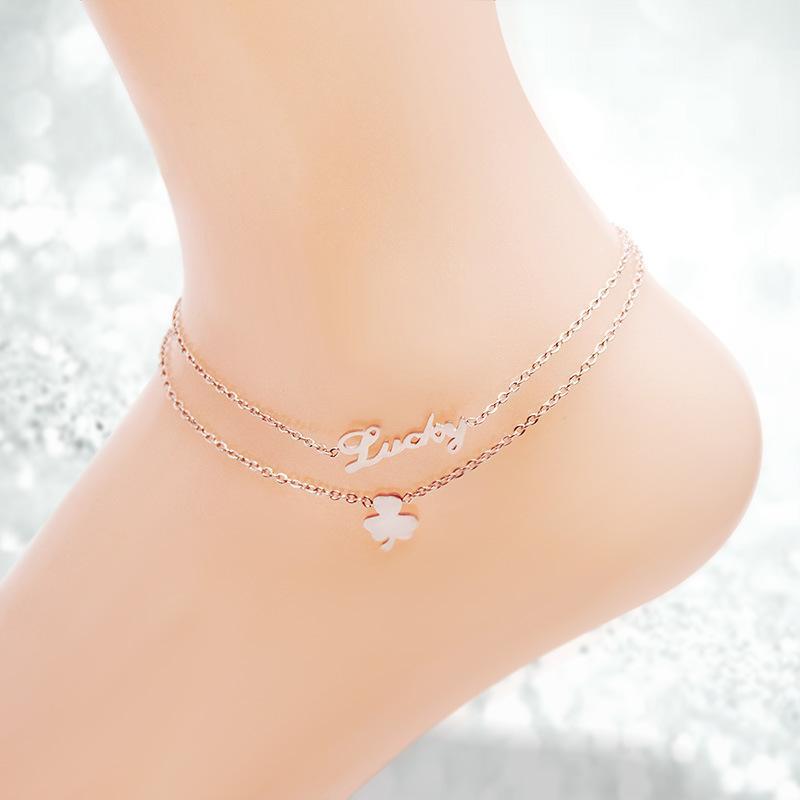 2020 New Bell Vier-Blatt White Shell Schmetterling Fußkette überzog 18K Rose Gold Titan Stahl Schmuck eine Generation von Haar