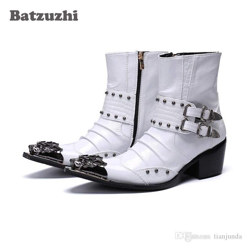 Batzuzhi Rock Handsome Uomo Stivali Scarpe Punta a punta in metallo 6.5 cm Stivaletti in pelle con tacco per uomo Bianco Moto botas hombre
