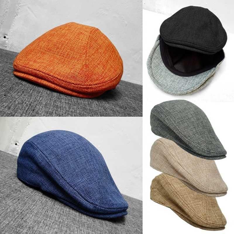 Raddoppia Indossare stile degli uomini Cappelli Berretti British Style Occidentale Ivy Cap Classic Donna Vintage cotone e lino Beret