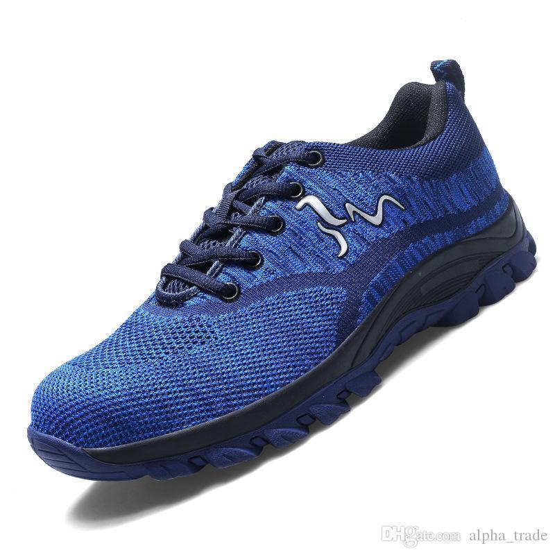 Qualitäts-Stahl-Zehe-Sicherheits-Schuhe Herren-Arbeitssicherheitsschuhe Unisex Breath Air Mesh Arbeitsschuhe plus Größe 35-46 Gummi