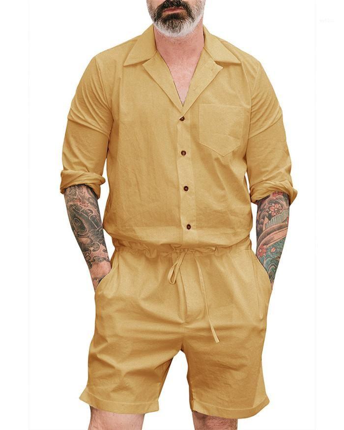 Бегуны Комбинезонов Man Summer Rompers с коротким рукавом Street Casual штаны Комбинезон Комбинезон Мужские эластичный пояс