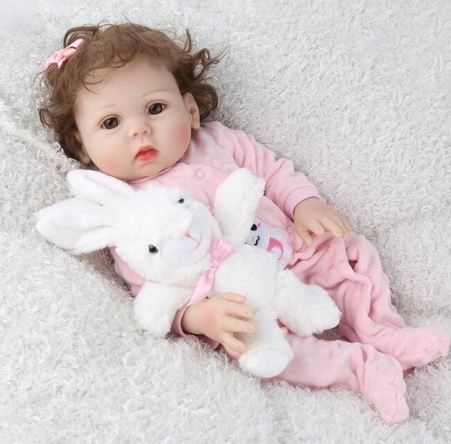 아이들은 장난감 48cm 전체 실리콘 다시 태어난 아기 인형 18 인치 살아 목욕 놀이 친구 사랑스러운 유아 유아 아이 생일 선물을 플레이