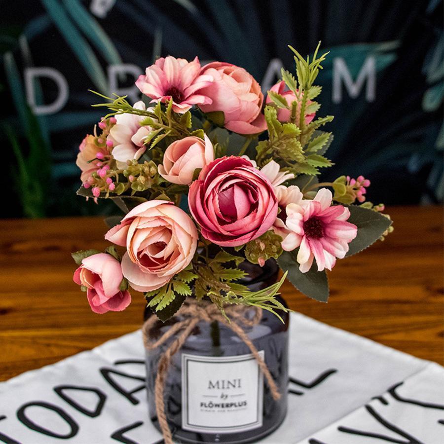 Automne Faux Thé Rose de fleurs de soie automne Gerbera artificielle fleur en plastique pour le mariage Accessoires décoration chambre décoration