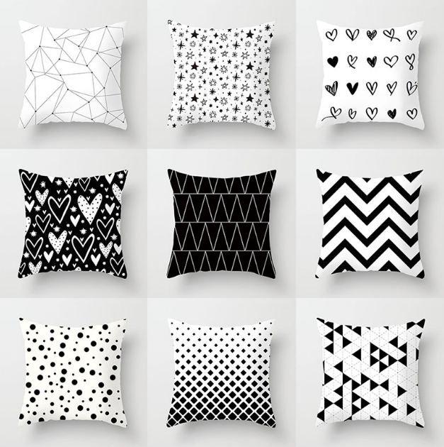 YWZN Negro geométrico blanco y fundas de almohada decorativa poliéster Throw Pillow caso rayado geométrico de la funda de almohada kussensloop