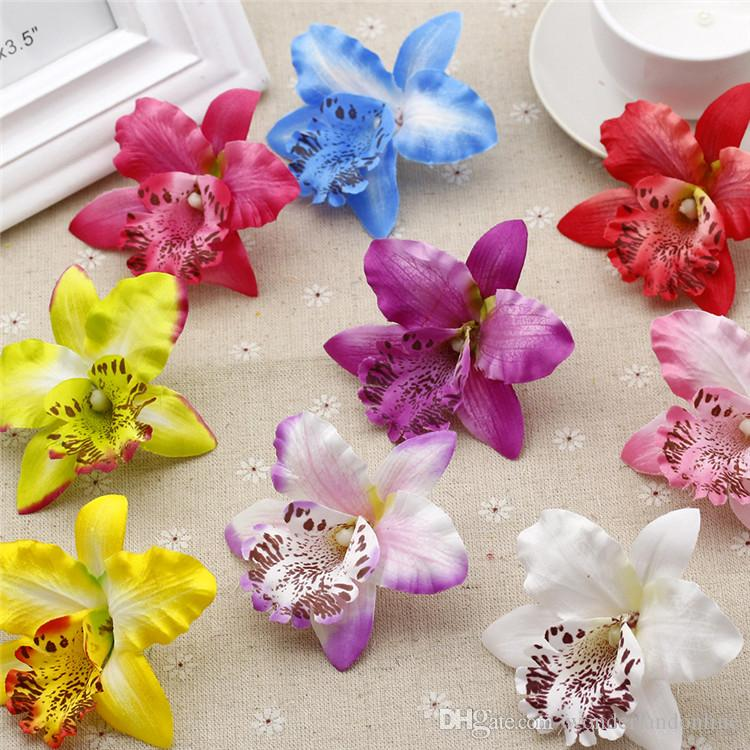 7 CM Soie Orchidée Artificielle Fleur Orchidées Haute Qualité Diy Fleur Pour Chapeau De Mariage Décoration Hawaiian Party Fleurs