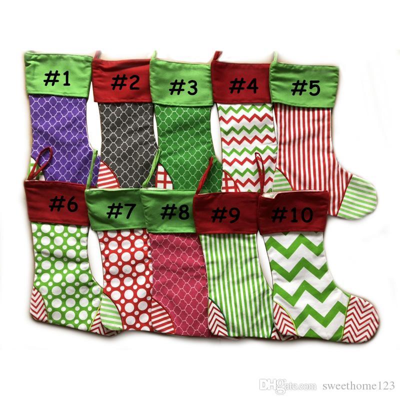 Family Christmas Stockings.New 16 Designs Family Christmas Stockings Embroidered Personalized Stocking Large Canvas Red And Green Chevron Stripe Xmas Decorations Xmas Decs Xmas