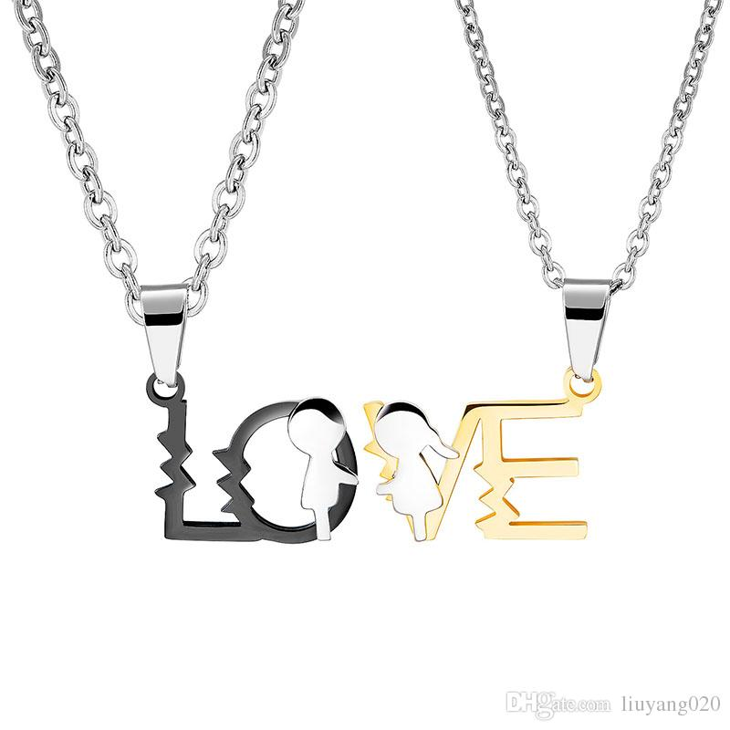 jewelry creative letters I love you more love lovers necklace charm gift pendant