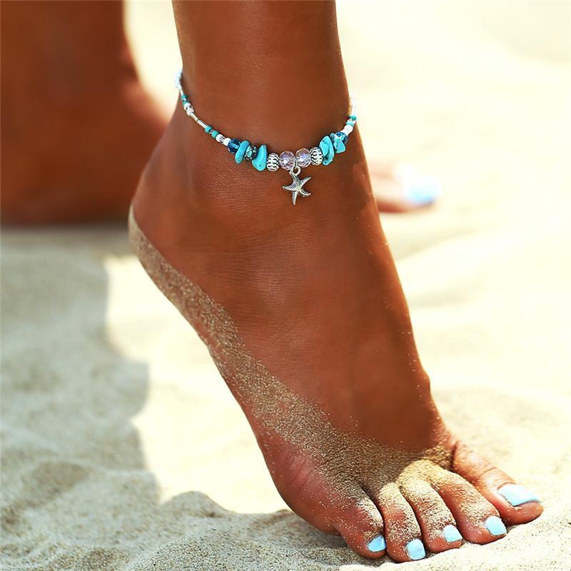 Новый Vintage регулируемый ножной браслет для женщин богемское лето пляж бирюзовый камень Starfish Шарм ножные HZ