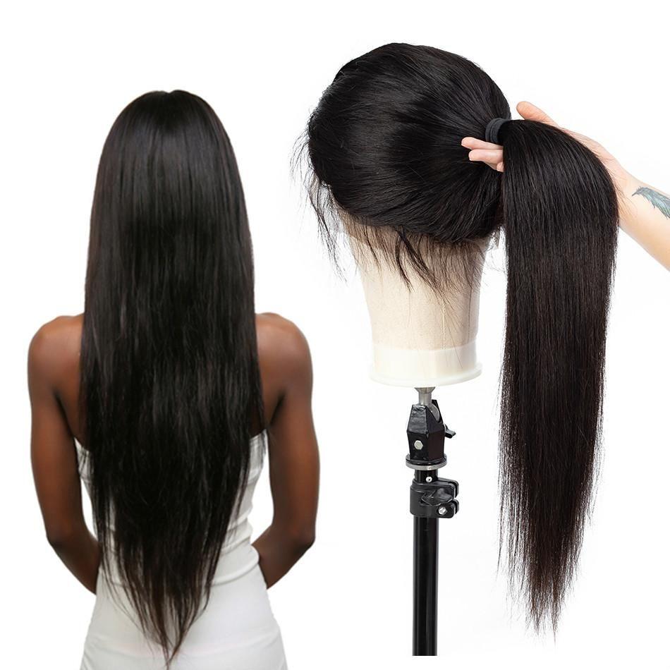 Perruques Lace Front brésilien cheveux raides 360 dentelle perruque pour femmes noires non Remy perruque vague humaine