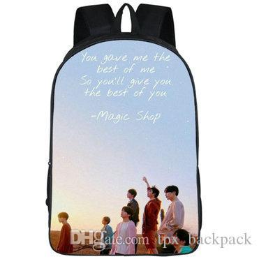 السحر متجر على ظهره BTS الموسيقى اليوم حزمة الرصاص حقيبة مدرسية Bangtan بنين packsack صورة حقيبة الظهر الرياضة المدرسية daypack في الهواء الطلق