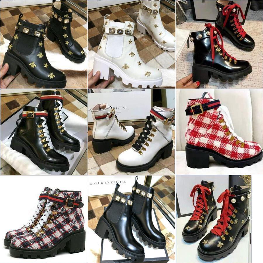2020 miglior designer di qualità stivali di pelle Bee piattaforma Desert Boots della signora caviglia del tacco alto scarpe Martin Stampa Verificare tweed con cintura 9 colo068e #