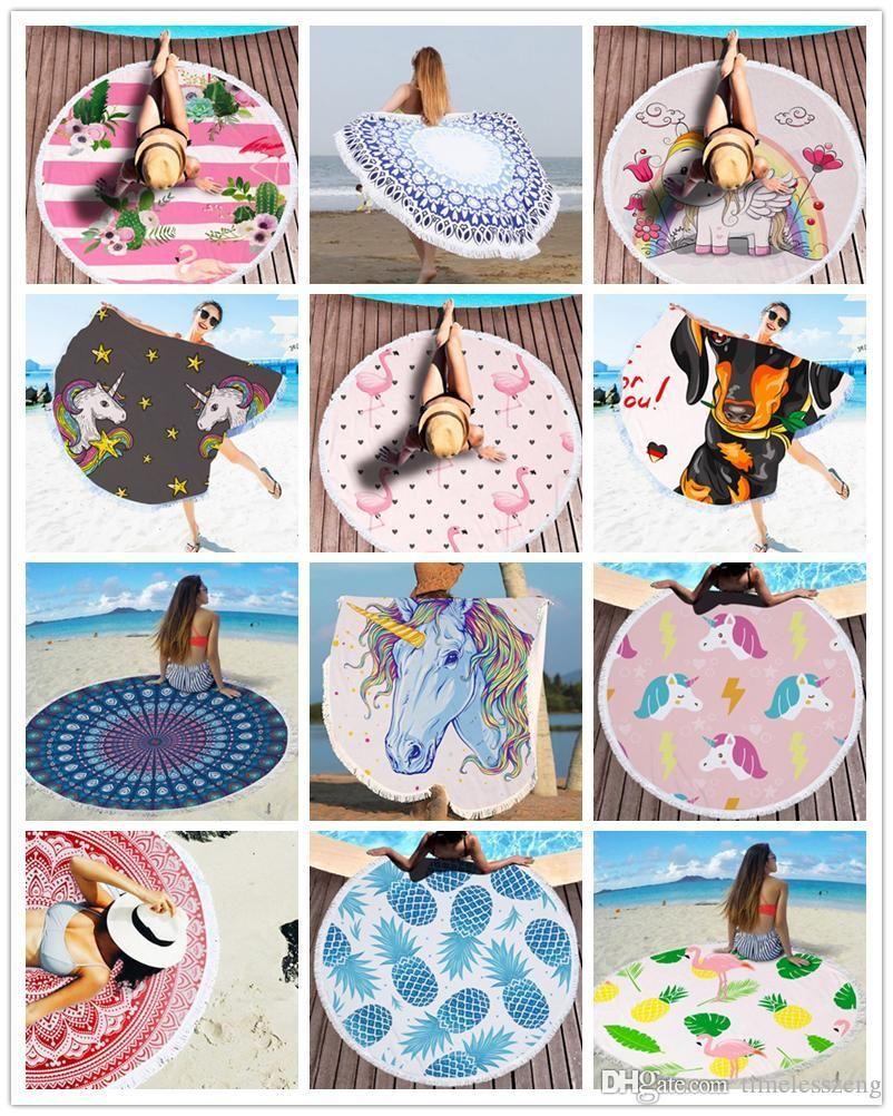 Imprimé Mandala Round Serviette de plage Châle Microfibre Beach Blanket piscine Serviette de bain Tassel Tapisserie Tapis de yoga Tapis d'extérieur pique-nique Tapis