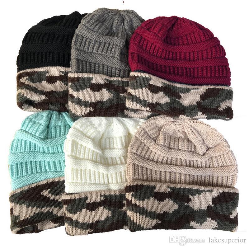 Frauen Camouflage Woll Knitting Strickmütze Herbst-Winter-warme beiläufige Hut-Kappen-Geschenk für die Liebe Freundin