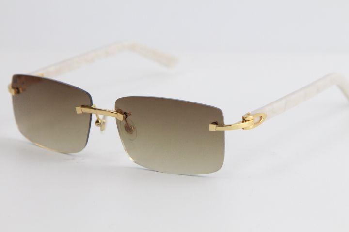 공장 도매 림이없는 대리석 화이트 판자 선글라스 8200757 고급 디자이너 안경 야외에서 안경을 운전하는 큰 사각형 선글라스