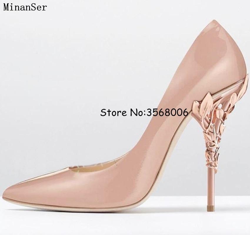 2018 Filigrana Hojas Rosa y oro Eden Heel Pumps Punta estrecha Sexy Tacones altos Impresionantes zapatos de boda nupciales Mujer Zapatos de vestir de fiesta