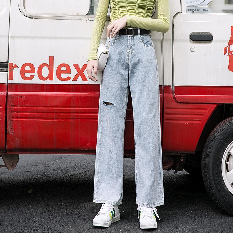 2020 청바지 여성 바지 레저 느슨한 높은 허리 빈티지 와이드 다리 여성 청바지 한국어 스타일의 간단한 전체 길이 여성 의류