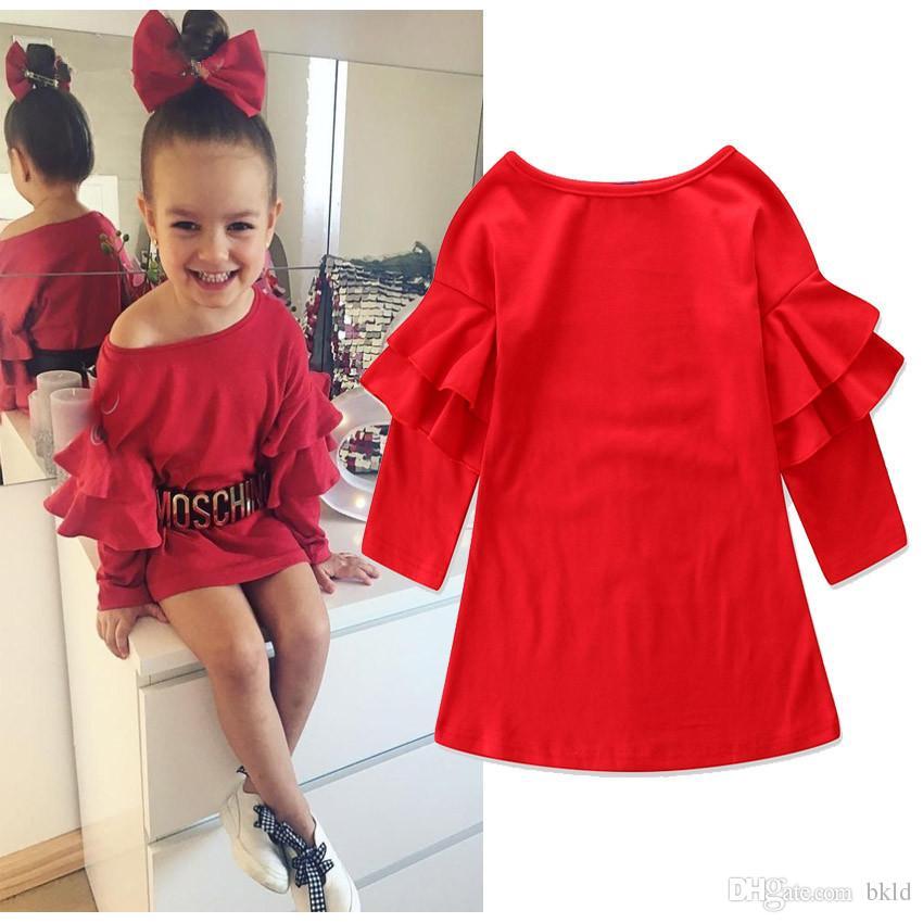 2019 Primavera Girl Dress Cotton Ruffles manga comprida Vestidos Crianças sólidos crianças vermelhos vestidos para meninas Moda Vestuário Meninas