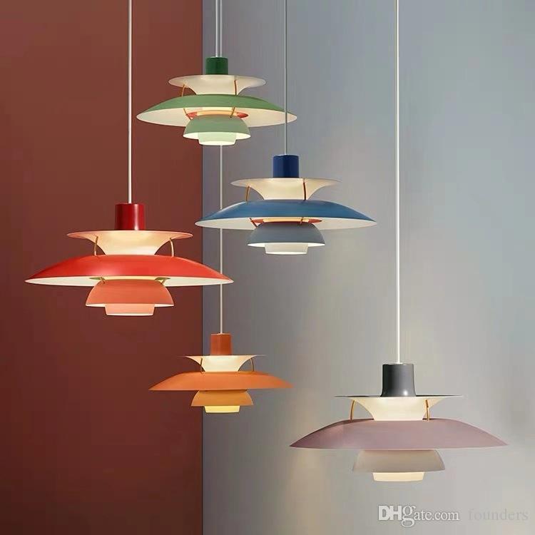 Pendentif moderne Nordic Light Colorful Umbrella Led Hanglamp Salle à manger Led Pendentif Lampe LED éclairage intérieur