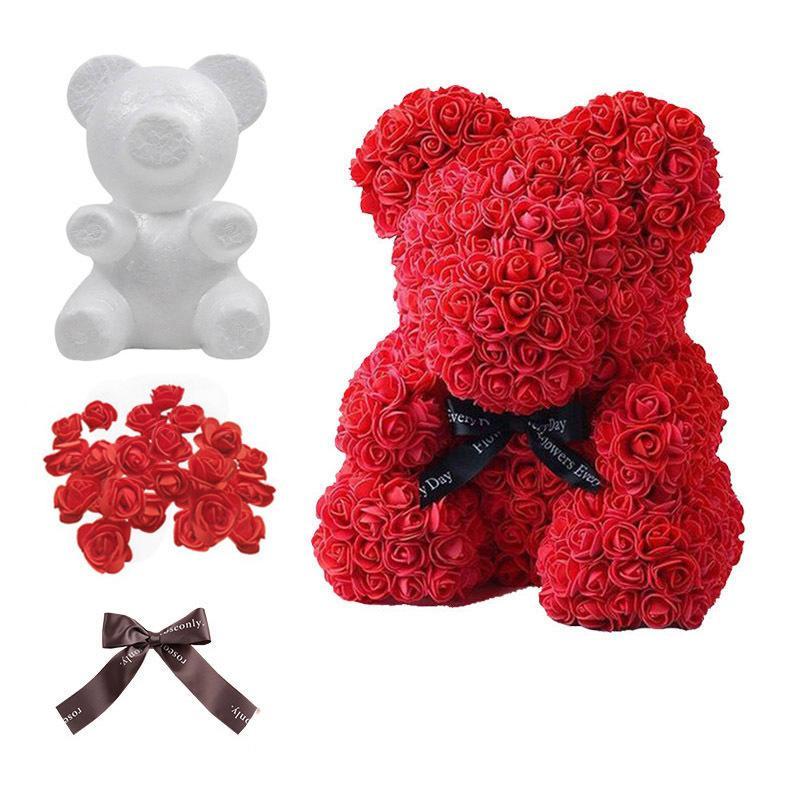 Polistiren Strafor Köpük Ayı Kalıp Yapay Çiçek Baş Gül DIY Teddy Bear Yay Kurdela Düğün Doğum Günü Partisi Hediye Dekor