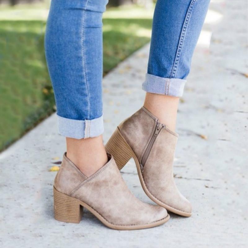 2019 Chic Automne Femmes Chaussures Rétro talon haut Bottines Femme Bloc talons mi Casual Botas Mujer bottillons Feminina Plus Size 43 T200104