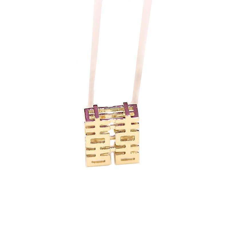 Завод Оригинальный дизайн красивый китайский иероглиф радость 18K золото ключицы цепи ожерелье счастливый характер китайский элемент литературного стиля