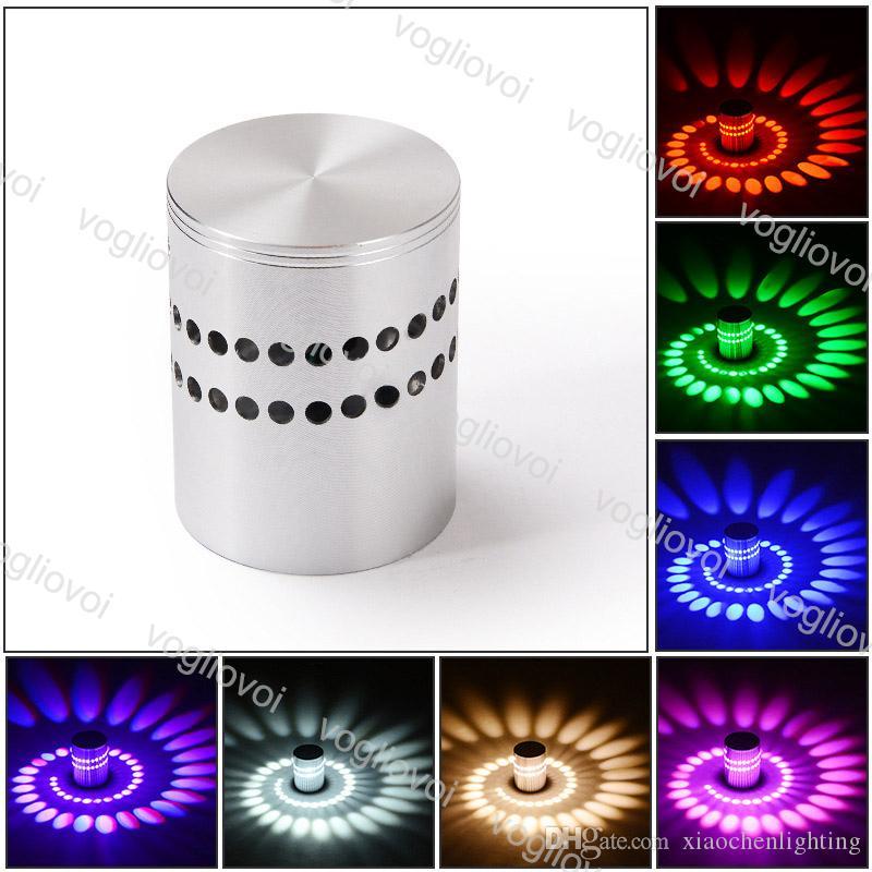 Lâmpada de parede LED moderna 3W RGB Espiral Sconce Luminária de iluminação de teto apto para interior home corredor de estufa cama Bedsides Epacket