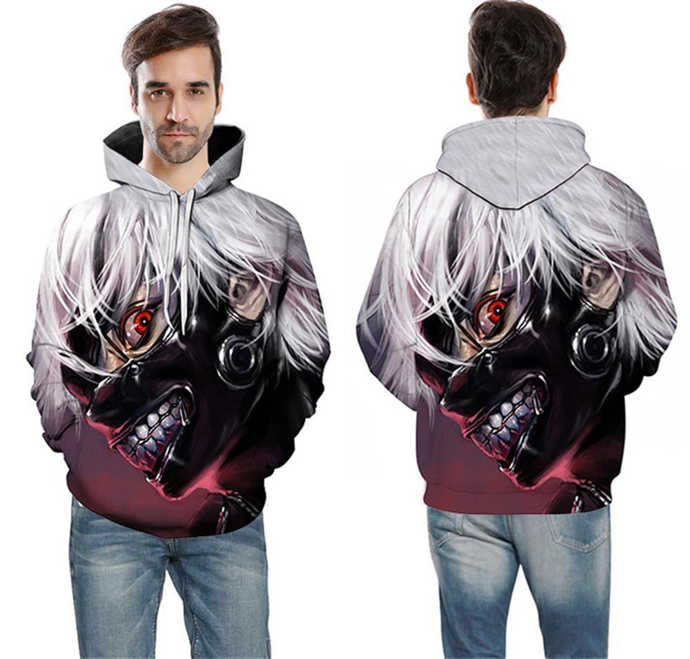 Cosplay Tokyo Ghoul Kaneki Ken Adulto Uomini Donne 3D Print Coppia Giacca Maglia Top Coat Halloween Costumes Hot Sale 6XL