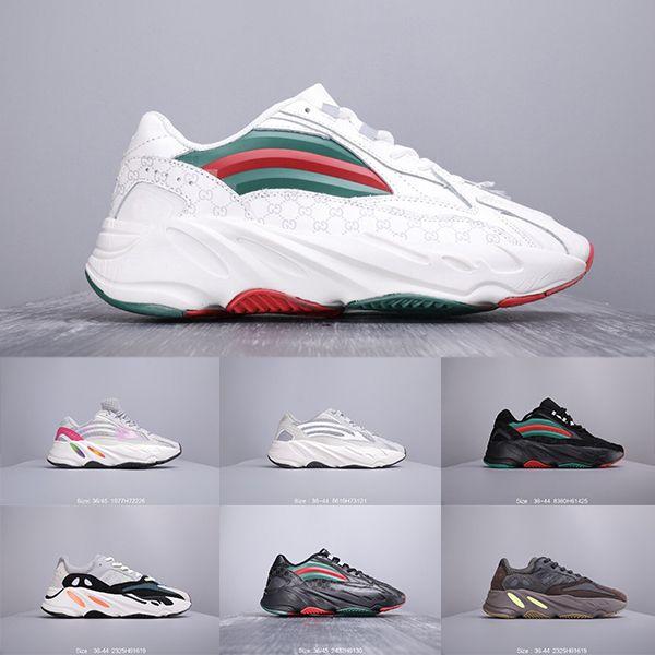 2019hb Новые Полноцветные 700-х годов Wave Runner Кроссовки Mauve Inertia Kanye West Дизайнерская обувь 700s V2 Static Sports Seankers Размер 36-45