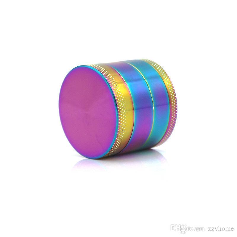 Amoladoras 40MM del arco iris amoladora de la hierba de 4 capas de aleación de zinc arco iris Tabaco Grinder fumar hierba de fumadores 6 colores al por mayor