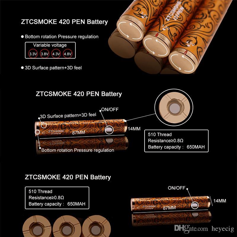 420 Pen Battery 650mah 3D Surface Pattern Adjustable Variable Voltage 3.3V to 4.8V Preheat Battery Vape For Thick Oil Cartridge