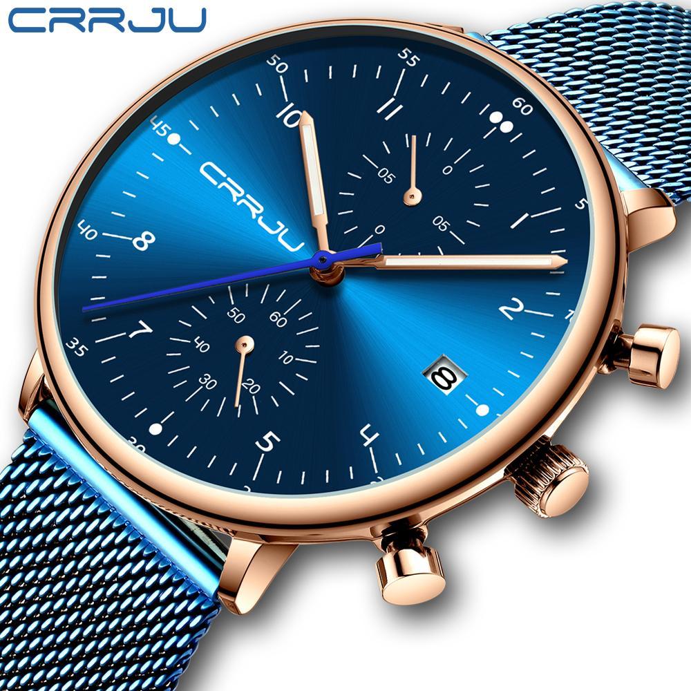relogio masculino CRRJU Top Brand Luxuxmann Edelstahl-Armbanduhr Männer imprägniern Kalender Chronograph Quarz-Uhren