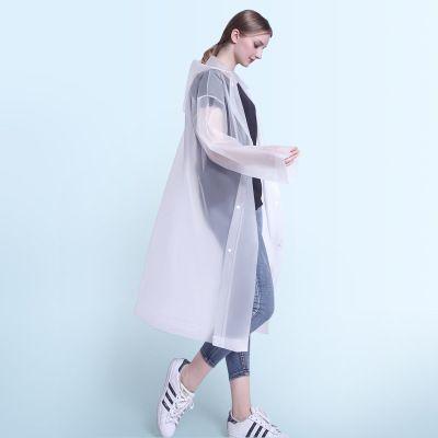 Fashion EVA Women Man Raincoat Thickened Waterproof Rain Poncho Coat Adult Clear Transparent Camping Hoodie Rainwear Suit 115cm