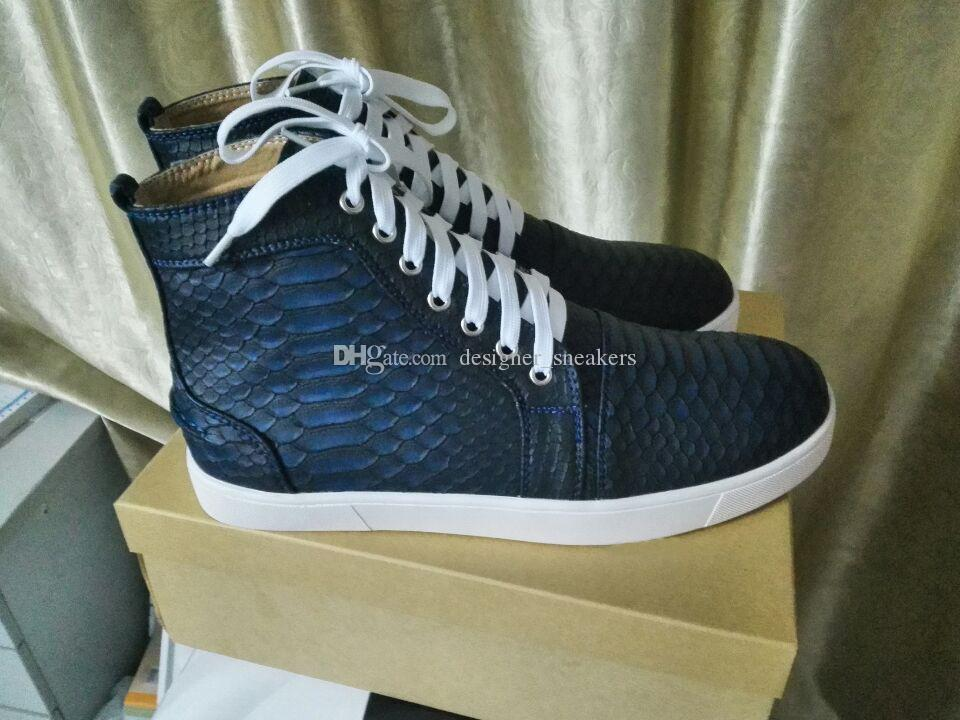 2017 novo designer High Top Blue Black Snakeskin vermelhos Sapatilhas de fundo Casual sapatos de luxo Shoes Python skate para Mens Womens