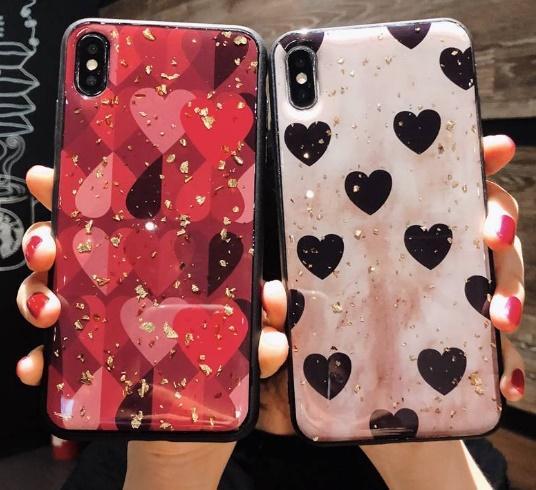 패션 반짝이 사랑 TPU 전화 케이스 7 8 플러스 X XS MAXS 아이폰에 대한 사랑의 마음 쉘 금박을 블링 커버 럭셔리 돌아 가기 인쇄하기
