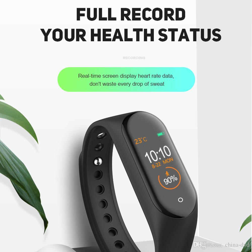 سوار الساخنة M4 الذكية فرقة للياقة البدنية المقتفي ووتش الرياضة معدل ضربات القلب ووتش الذكية 0.96 بوصة Smartband مراقب الصحة الاسورة