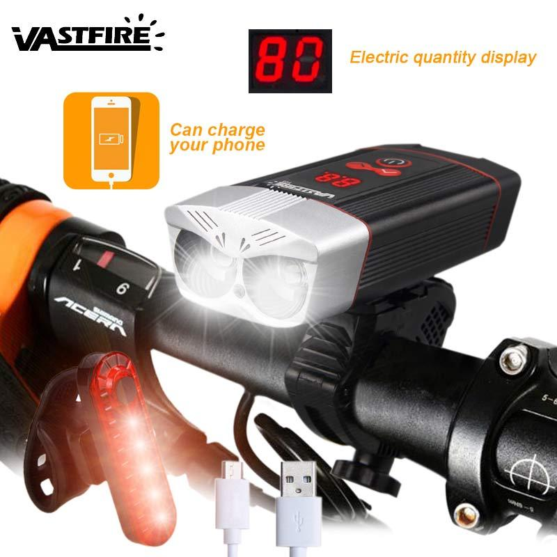 أضواء الدراجة 1200lm USB القابلة لإعادة الشحن المصباح 5 أوضاع الدراجات مصباح MTB الطريق دراجة مع شاشة LED ذكية