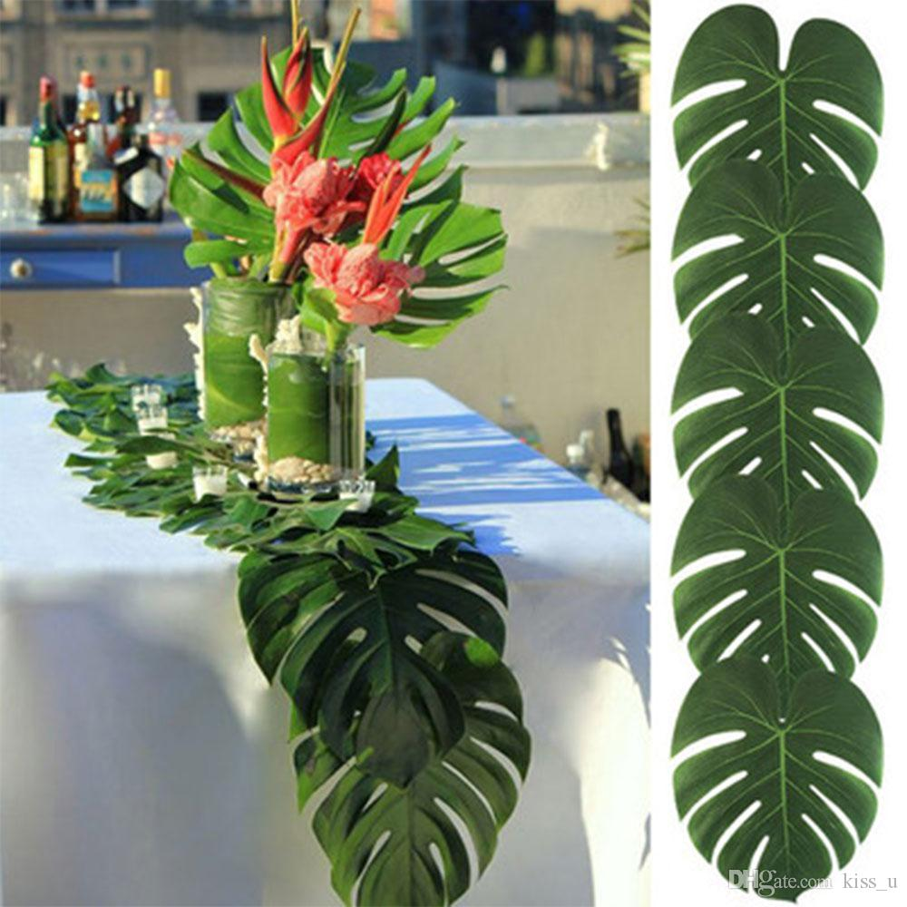 12/24/36/60pcs/set Fabric Artificial Palm Leaves Hawaiian Luau Party Jungle Beach Theme Wedding Party Decor 2018 New