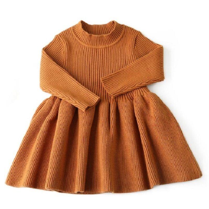 أزياء الخريف الشتاء اللباس للبنات الصوف محبوك سترة الرضع طفلة اللباس الفتيات فساتين للحزب طفلة الملابس 6 متر J190614