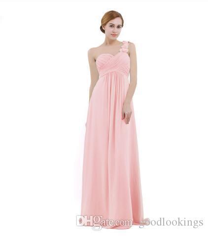 Mulheres Chiffon Dridade Vestido Alta-cintura Comprimento Um ombro Plissado Laço Casamento Partido Dama de Promoção Vestidos de Prom